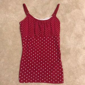 Red and white polka dot top